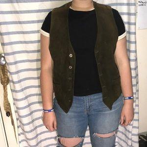 Other - Vintage Wool & Leather Vest